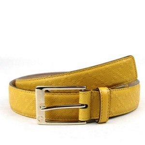 Gucci Yellow Leather Diamante Square Buckle Belt 345658 (100 / 40) Groomsman Gift