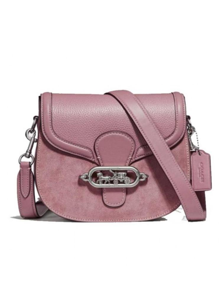 3be33c3160be Coach Saddle Elle Silver Dusty Silver Dusty Rose Leather Shoulder ...