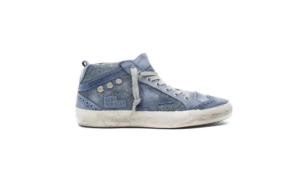 d4a6d1a08c6b Golden Goose Deluxe Brand Blue Leather Mid Star Sneakers In Glitter ...