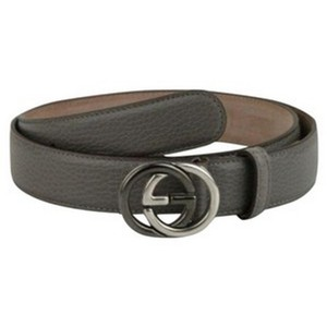 Gucci Grey Leather Belt with Gg Buckle 295704 1226 (105 / 42) Groomsman Gift