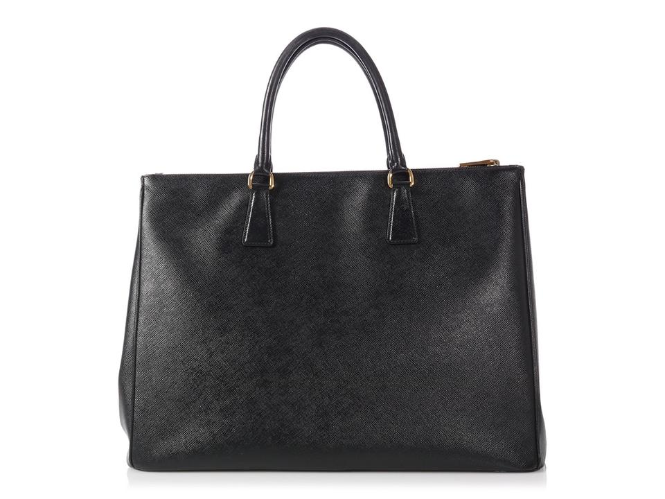 3941658ddbc2 Prada Double Lux Zip Large Black Saffiano Leather Tote - Tradesy