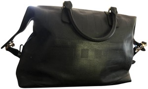 Burberry Embossed Leather Burberrycheck Black Travel Bag