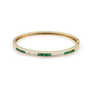 Other Estate 1.80ct Diamond & Emerald 14k Yellow Gold Bracelet Bangle