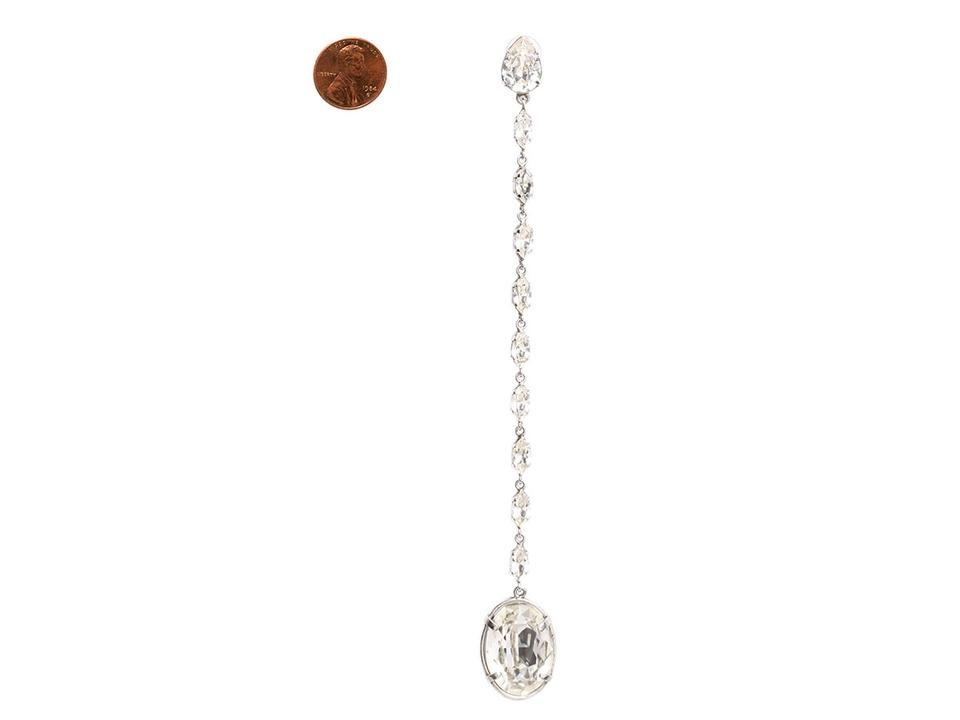 f7abfea1ce5c Saint Laurent Silver Smoking Chain Crystal Drop Earrings 17% off retail