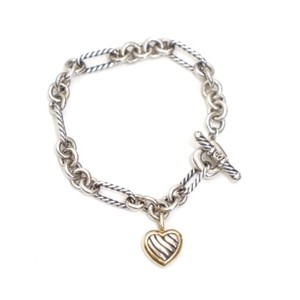 David Yurman Chain Link Cable Gold Silver Heart Toggle Bracelet