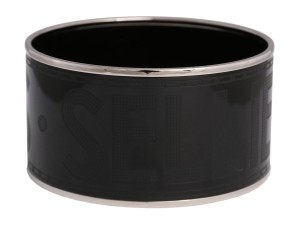 Hermès BLACK SELLIER EXTRA WIDE BANGLE BRACELET