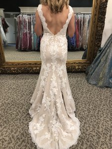 Pronovias Off White/ Dark Beige Jersey with Lace Overlay Traditional Wedding Dress Size 4 (S)