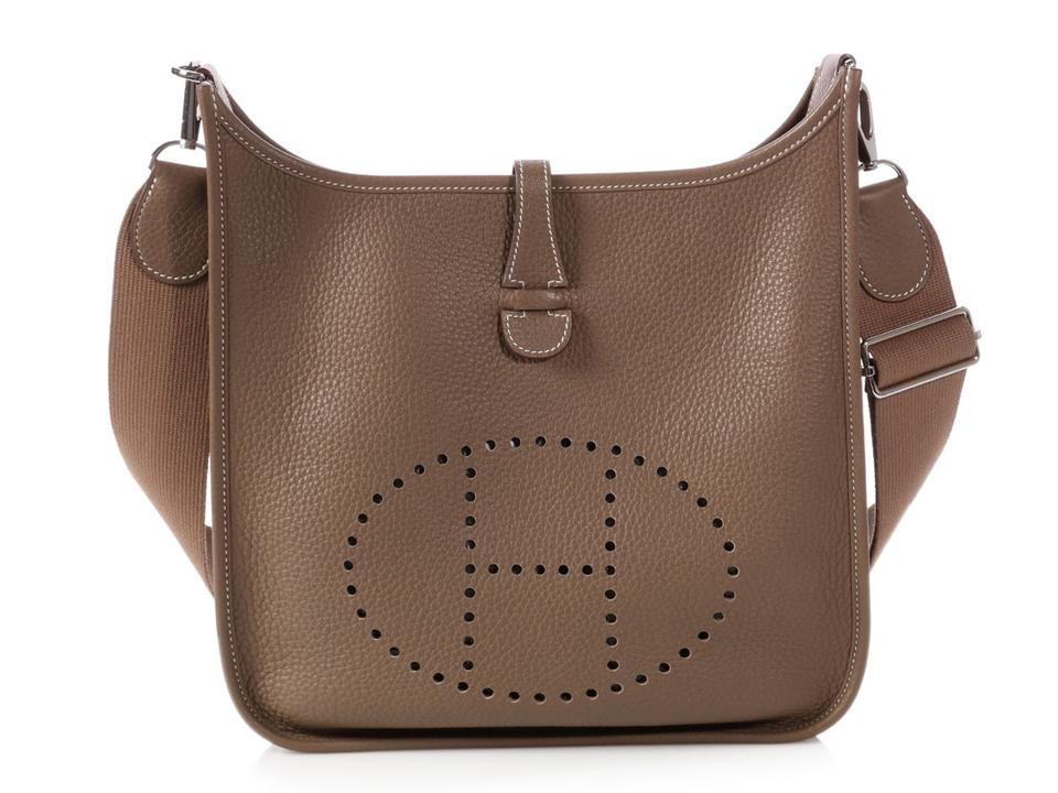 95c5314639ce Hermès Evelyne 3 Pm Clemence Etoupe Brown Leather Cross Body Bag 1% off  retail