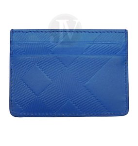 Burberry BURBERRY EMBOSSED CHECK LOGO BLUE AZURE LEATHER CARD CASE WALLET