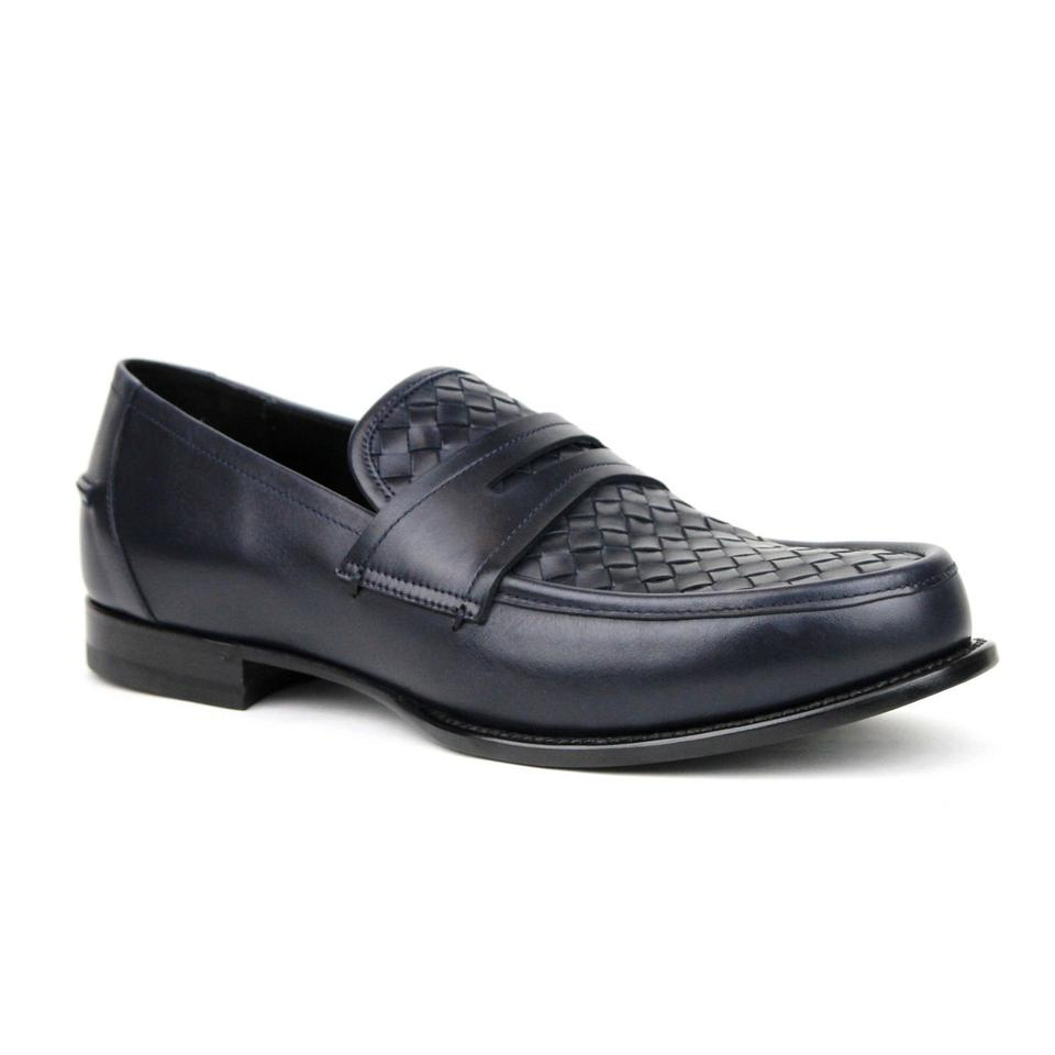 e8fb215b53d2 Bottega Veneta Blue Men Navy Leather Penny Loafer 45 Us 12 405916 4030 Shoes