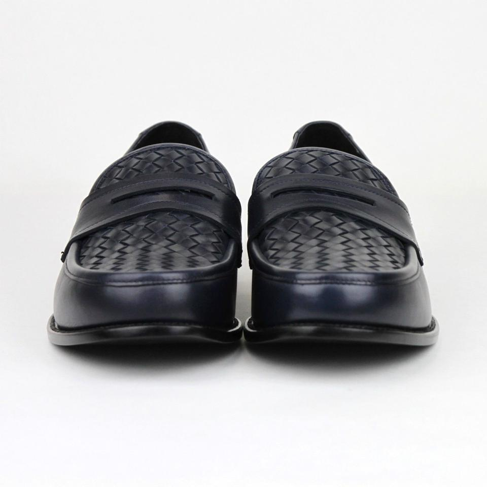 a4cf9db048ed Bottega Veneta Blue Men Navy Leather Penny Loafer 45 Us 12 405916 4030 Shoes  Image. 12345678