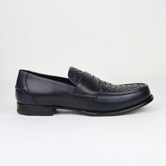 206dfa7ff443 Bottega Veneta Blue Men Navy Leather Penny Loafer 45 Us 12 405916 4030 Shoes  Image