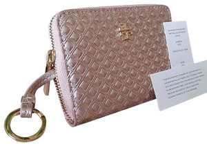 Tory Burch Coin Case Embossed Wristlet in ROSE GOLD