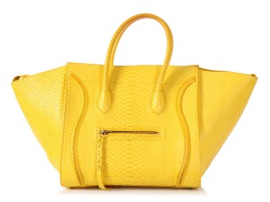 Céline Ce.p0820.14 Snakeskin Top Handle Exotic Tote in Yellow