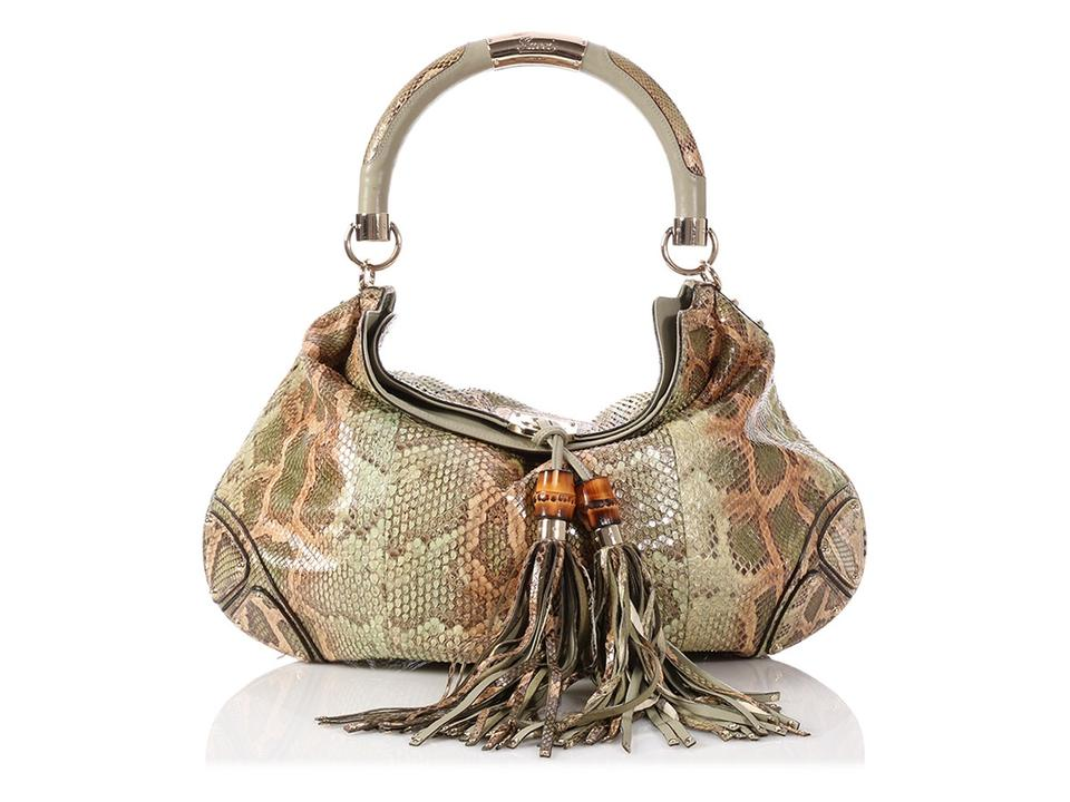 7073426f722 Gucci Indy  sold Ebay large Green Python Skin Leather Hobo Bag - Tradesy