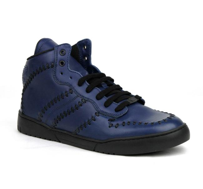 Item - Navy Blue Stitched Leather Hi Top Sneakers It 43/Us 10 451597 4263 Shoes