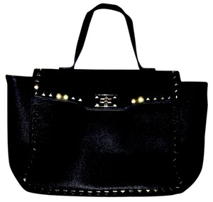 Forever 21 Studded Gold Hardware Rivets Faux Leather 21 Tote in Black