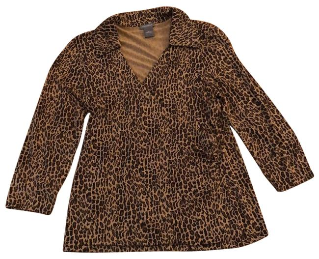 Item - Beige and Brown Leopard Print Wrap Front Tunic Size 8 (M)