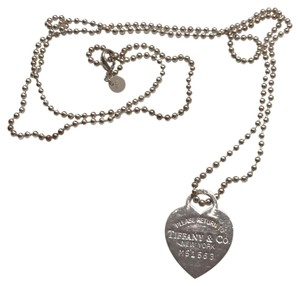 Tiffany & Co. Return to Tiffany Dog Tag Sterling Silver Heart on Long Bead Chain
