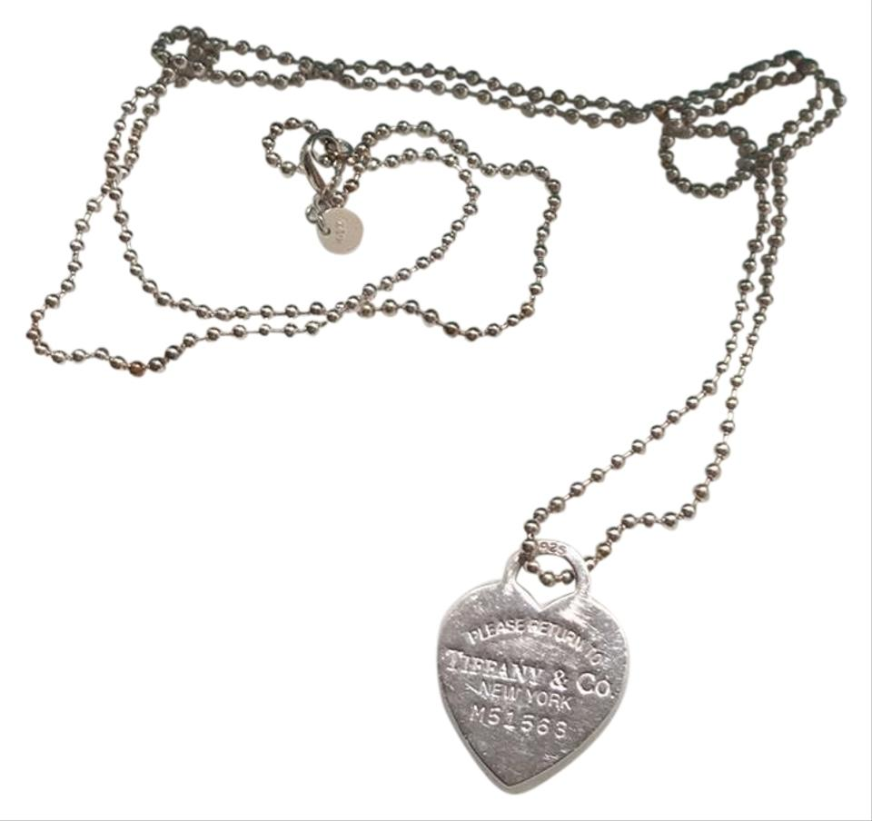c3e2fdbf5 Tiffany & Co. Silver Return To Tag Sterling Heart On Long Bead Chain  Necklace