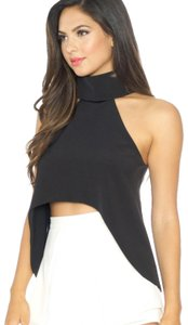 Luxxel Hi Lo Crop Night Out Date Night Top Black