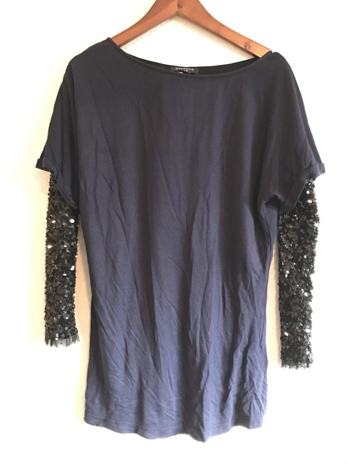 Item - Sequined Sleeve T-shirt Navy Top