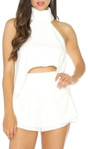 Luxxel Hi Lo Crop Wedding Bachelorette Top White
