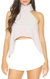 Luxxel Hi Lo Crop Night Out Date Night Top Grey