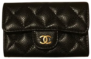 Chanel Rare CHANEL 2018 Caviar Quilted with Gold Hardware Card Holder Wallet