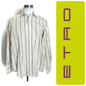 Etro White Gray Purple Men's Long Sleeve Button Down Striped Made In Italy Shirt