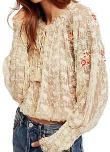 Free People Embroidered Boho Bohemian Sheer Floral Top