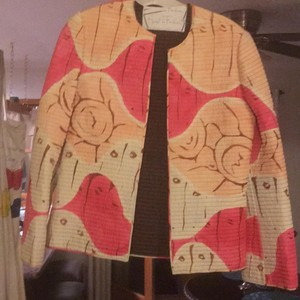Mary McFadden pink, peach, brown and off white Jacket
