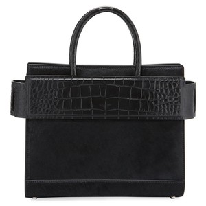 Givenchy Made In Italy Shoulder Calf Hair Crocodile Embossed Luxury Designer Tote in Black