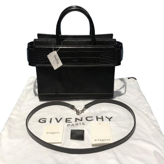 Givenchy Made In Italy Shoulder Calf Hair Crocodile Embossed Luxury Designer Tote in Black Image 1