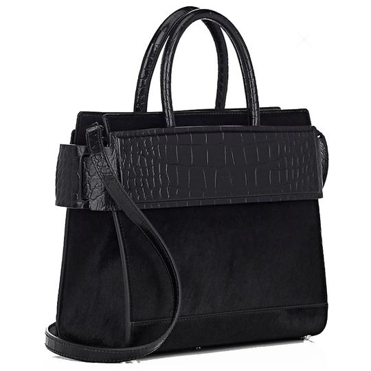 Givenchy Made In Italy Shoulder Calf Hair Crocodile Embossed Luxury Designer Tote in Black Image 4