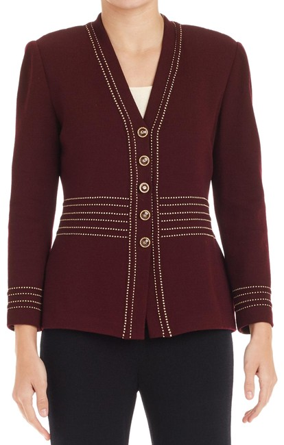 Item - Maroon Gold Collection Knit (6) 75520 Jacket Size 6 (S)