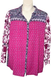 Avenue Buttons Boho Bohemian Hippie Button Down Shirt Multi