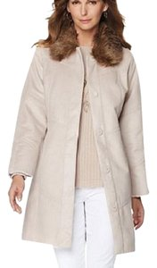 Hal Rubenstein Faux Fur Faux Suede Faux Shearling Snap-front Winter Trench Coat
