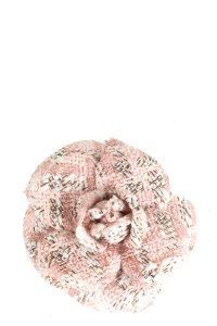 Chanel CHANEL Pink and White Tweed Camellia Brooch