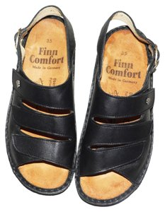Finn Comfort Leather Leather Sylt Velcro Orthodic Arch Support Black Sandals