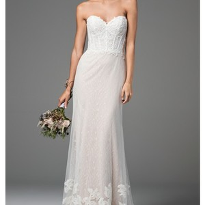 Watters & Watters Bridal Ivory with Soft Blush Undertones In Bottom Half Willow Liberty Gown (Style 58704) Modern Wedding Dress Size 8 (M)