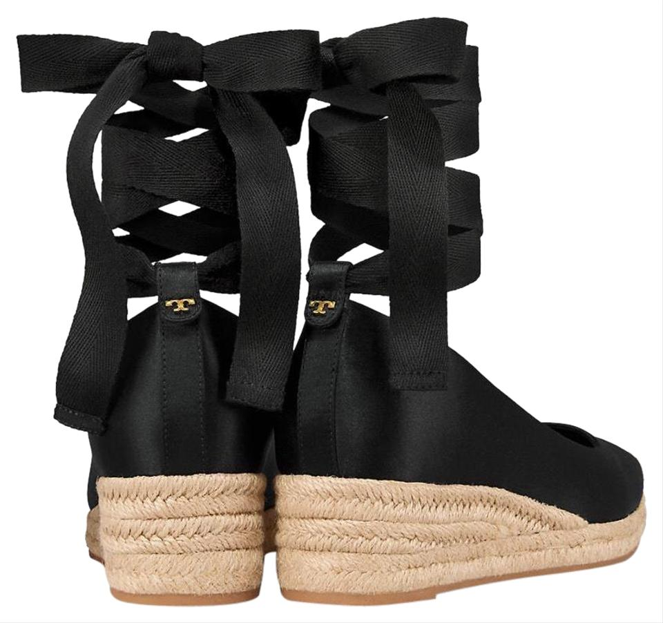 2b9a3d7502a Tory Burch Black New Heather Satin Lace Up Low Espadrilles Wedges Size US  11 Regular (M, B) 40% off retail
