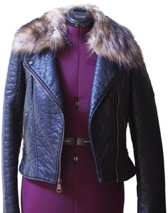 Andrew Marc Faux Faux Fur Moto Winter Leather Jacket