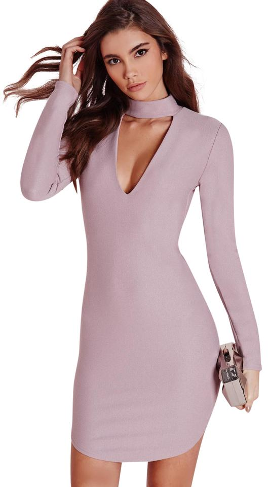 e9881fa4d842 Missguided Mauve Choker Cut-out Bodycon Short Night Out Dress Size 0 ...