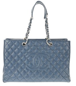 Chanel Gst Shopping Caviar Navy Tote in Blue