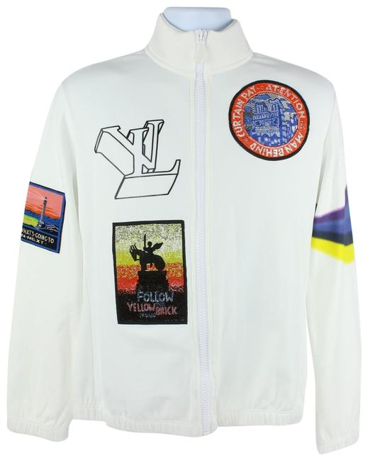 Item - White (Runway) Virgil Ablow Patch Ss19 Long Sleeve Zip Up 14lz1023 Jacket Size 12 (L)