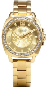 Coach Coach Boyfriend Logo Women's Watch Yellow Gold SS Swarovski Mini
