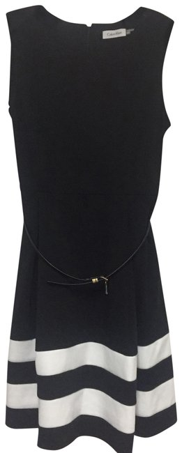 Item - Black and White Belted Formal Dress Size Petite 12 (L)