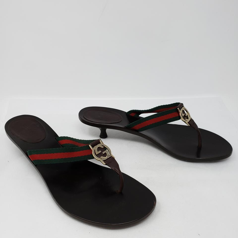 c5f3995eb8ce Gucci Black Red Green Web Gg Logo Sandals Size EU 39.5 (Approx. US ...