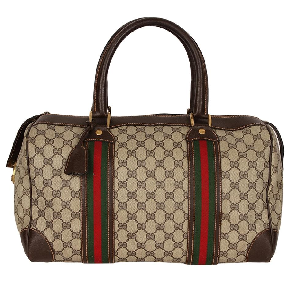 b599f03f136 Gucci Boston Vintage Speedy Web 6736 Brown Canvas Weekend Travel Bag ...